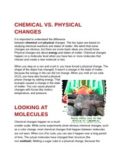 Chemical vs. Physical Changes