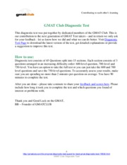 GMAT Diagnostic Test GMAT Club v2.3