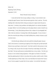 Memo_ Personal Literacy Narrative