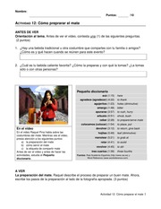 Spanish 1155 Chapter 12 Activity