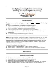 Complete Writing Rubric Packet by Mary Allen