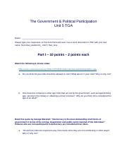 Unit 5 - The Government and Political Participation_Assignment
