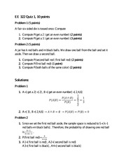 Solutions for Quiz 1