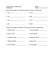 BINARY ionic COMPOUNDS worksheet - BINARY IONIC COMPOUNDS CHAPTER 5 ...