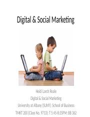 1. Digital & Social Marketing