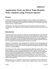 Cadence Design Systems - Application notes on direct time-domain noise analysis using Virtuoso Spect