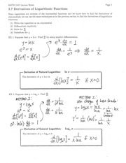 Section 3.7 Derivatives of Logarithmic Functions Notes