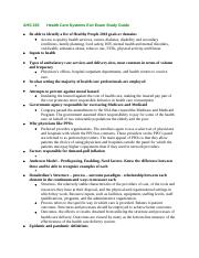 AHS 330Health Care Systems Exit Exam Study Guide