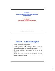 Lecture 5 - Series & Parallel Circuits