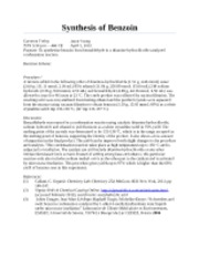 CH 12 - Synthesis of Benzoin Report