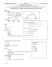 ES230-Final-Exam-2013 on Strength of Materials