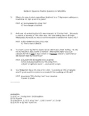 Metabolic Equations Practice Questions for WALKING