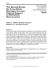Adida Combes Lo Verink CPS 2016 - Cross-Ethnic Marriages in Multi-Ethnic Societies
