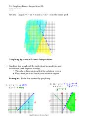 7.3  Graphing Linear Inequalities (II)