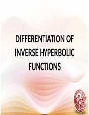 14 Derivative of Inverse Hyperbolic Functions