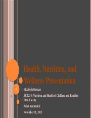 ECE 214 Health, Nutrition, and Wellness Presentation