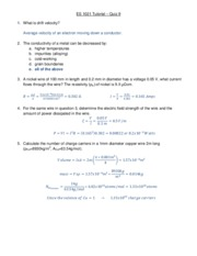 ES 1021 Tutorial 9 Solution