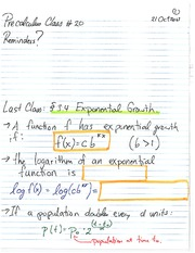 MATH 1110 Fall 2013 Exponential Growth Lecture Notes