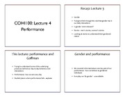 Lecture 4 - Performance & Goffman