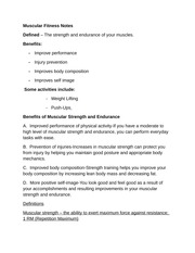 Muscular Fitness Notes