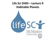LS 2H03 - Lecture 9 - Life on Other Planets - A2L