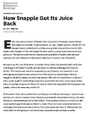 How Snapple Got Its Juice Back