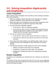2.5 - Solving Inequalities Algebraically and Graphically
