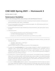 hw3.pdf - CSE 6220 Spring 2021 Homework 3 Due Date Submission Guideline Adhere to the following