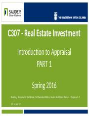 C307 - 2016 - Lec 10 - Part 1 - Intro to Appraisal.pptx