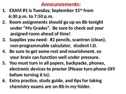 Announcements for Exam 1