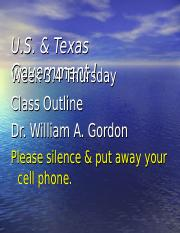 U.S. & Texas Government I - Week 3.4 Thursday Class Outline.ppt