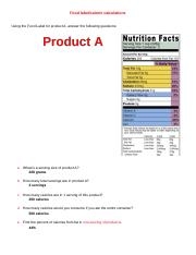 Food label--calorie calculations.docx