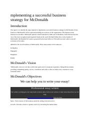 mplementing a successful business strategy for McDonalds.doc