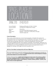 Syllabus Spring 2013, Space Place & Location, Richard Nisa