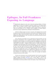 Epilogue, In Full Frankness Exposing the Language