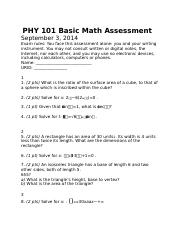 PHY 101 Basic Math Assessment.docx
