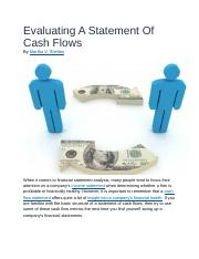 Evaluating A Statement Of Cash Flows