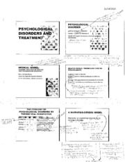 Notes on Psychological disorders and treatment