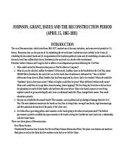JOHNSON, GRANT, HAYES AND THE RECONSTRUCTION PERIOD (1865-1881) module 1.doc