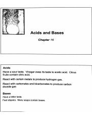 Chapter 16 Notes - Acids and Bases