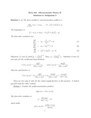 ECON 310 2014 Assignment 3 Solutions