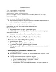 Health Psychology notes3 stress and health