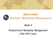 Lecture 9 Product level Marketing Management for Strategic Marketing Management
