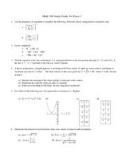 Math 106 Exam 1 Study Guide 2012