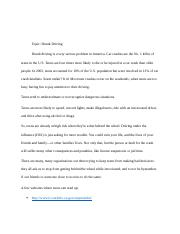 Teen Driving Issues Project - Drunk Driving.docx