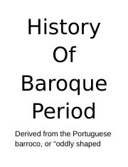 History Of Baroque Period