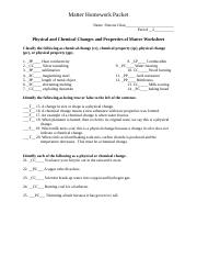 Classifying Matter Worksheet Key - Classifying Matter ...