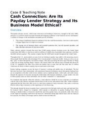 Cash Connection Are Its Payday Lender Strategy and Its Business Model Ethical