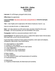 Syllabus on Linear Algebra Spring 2015