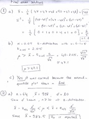 Practice Final Exam 1 Solution on Engineering Probability and Statistics